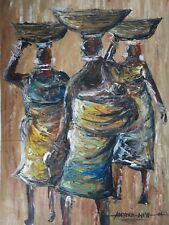 African OLIO/ACRILICO DIPINTO ORIGINALE 3 Donna Tribale Firmato Folk Art