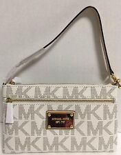 NEW Michael Kors Vanilla Logo Signature Large Wristlet Clutch Handbag $98