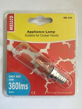 Wellco Screw Type SES E14 40W 40 Watt Oven Cooker Hood Long Lamp Light Bulb
