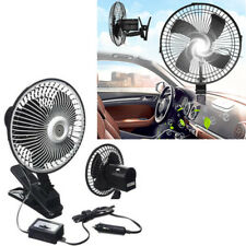 """6"""" 12V CLIP ON CAR OSCILLATING FAN 2M CABLE SPEED CONTROLLER TRUCK VAN COOLING N"""