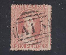 "Grenada Sc 2 used. 1861 6p rose Qv, ""A15"" barred oval cancel, sound"