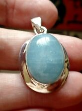 Chunky Sterling Silver and Natural Aquamarine Pendant 8.2g March Birthstone