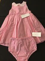 Ralph Lauren Toddler Girls Seersucker Pink Dress 2-Piece Set 100% Cotton 18M NWT