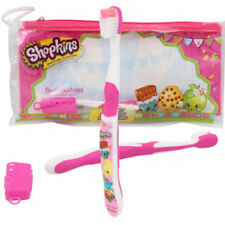 NEW Shopkins Soft Rounded Bristle Kid Child Toothbrush Travel Cap Pouch Kit