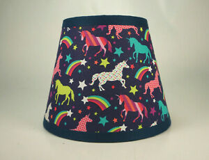 Unicorns Rainbows Stars on Navy Novelty Fabric Lampshade Lamp Shade
