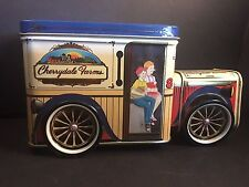 Delivery Truck Tin with Wheels and Bank Slot Cherrydale Farms Vintage