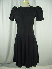 ORIGINATORS GUILD Vtg 30s Black Crepe Buttons Puff Sleeve Dress-Bust 34/2XS-XS