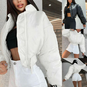 Womens Stand Collar Zip Cropped Puffer Cotton Jacket Bubble Parkas Coat Outwear