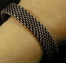 "Antiqued Solid Copper Woven Bracelet 8 1/2"" Chain Mail Maille Large Men Women"