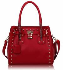Ladies Handbag Work Designer Red Studded Tote Bag With Padlock 00262