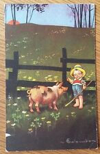 Greetings Pig Postcard , Early Postcard Posted