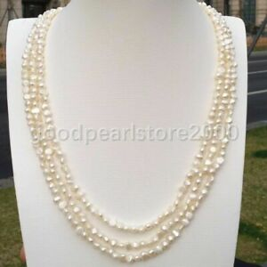 3rows Excellent 4-5mm Baroque White South Sea Pearl Necklace 14k Gold P Clasp