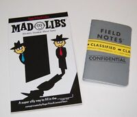 Spy Mad Libs & 2 Pack Special Agent Field Notes Note Books Loot Crate Word Game