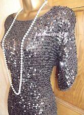 Stunning ❤️ WALLIS SIZE 12 14 Charcoal Silver Sequin  Gatsby 1920's Dress