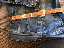 Stunning 28� Western Vintage Tooled Leather Steerhide Ladies Beaded Belt