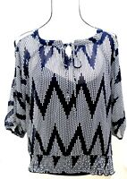 iZ Women's Size Small Blouse Top Polyester Polka Dots Navy Blue