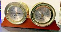 "Vintage GEMINI Quartz Clock & Barometer On Mahogany Wood Base 6 1/4"" Tall"