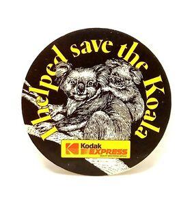 VINTAGE 1980s Kodak Express 'I Helped Save The Koala' Sticker 4cms UNUSED