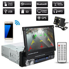 "7"" Car GPS Stereo Single 1 Din MP3 MP5 Player Bluetooth Radio USB Touch w/ Cam"