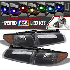 [Bluetooth RGB LED Bulbs] 97-03 Pontiac Grand Prix Black Replacement Headlight