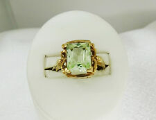 10k Vintage Mint Green Topaz Ring with Green Fluorescent Glow