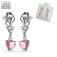 Pink Cz Heart Ear Studs Earrings 20g Pair of .925 Sterling Silver Prong Set