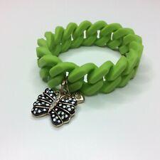 Betsey Johnson Boost Butterfly Green Rubber Stretch Bracelet
