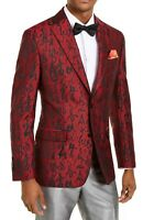 Tallia Mens Suit Jacket Red Size 36 Short Abstract Jacquard Slim Fit $350 #173