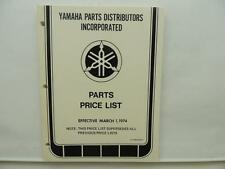 1974 Yamaha Motorcycle Parts Price List YD3 JT1 XS650E HX90 AT2 L10987