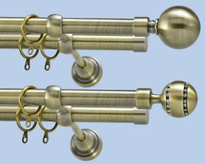 Metal Double Curtain Pole Antique Brass Diameter 28m / 19mm Complete With Rings