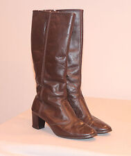"""17""""TALL BROWN LEATHER FUZZY LINED ZIP UP WOMENS 10M BOOTS 2-1/2""""HEEL STYLE 36464"""
