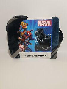 "Marvel BLACK PANTHER Plush Blanket (Blue/Black/Grey, 60"" x 90"" (152cm x 229cm))"