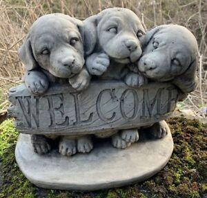 STONE GARDEN LABRADOR 3 CUTE PUPPY DOG WELCOME SIGN ORNAMENT