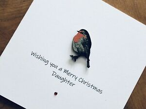 Personalised Handmade Christmas Cards - Wooden Robin 13.5cm X 13.5cm