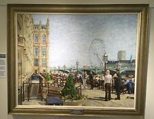 """ORIGINAL DENNIS SYRETT """"House of Commons"""" City of London Thames OIL PAINTING"""