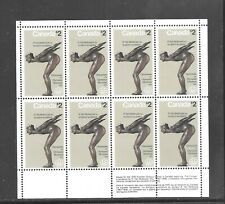 CANADA  1975 $ 2 DOLLAR THE PLUNGER MINIATURE PANE of 8  STAMPS #  657