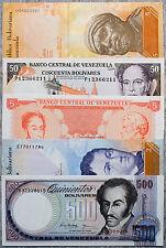 5 different Venezuela paper money 1980's-2000's Au-Unc.