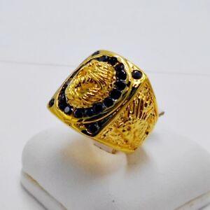 MEN RING BLACK ONYX 24K YELLOW GOLD FILLED GP DRAGON SQUARE ELVIS BIKER SIZE 6.5