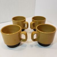 (Lot of 4) La Mesa Stoneware Vintage Stackable Coffee Cups Two Tone Brown