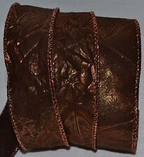 """Wired Ribbon~Fall Metallic Brown Copper Color-Change~Crinkle~1.5""""~Wreath~Bow"""