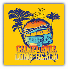 "California Long Beach Card Bus Car Bumper Sticker Decal 5"" x 5"""