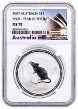 2007 (2008) Australia 1 Oz Silver Year of the Rat $1 NGC MS70 SKU32047
