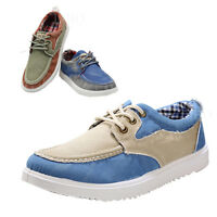 Men Casual boat Canvas Shoes Flat Loafer Lace Up driving Mixed colors Sneakers