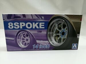 1/24 scale Aoshima RS Wantanbe 8 spoke 16 inch Wheels rubber tyres NEW JDM