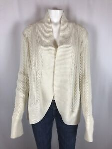 Talbots Womens Cardigan Sweater Size XLP XL Petite Open Front Cable Knit Cream