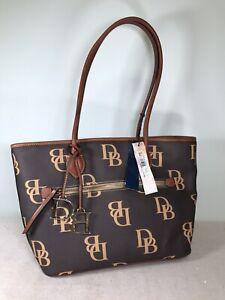 Dooney & Bourke Signature Monogram Collection Large Tote Bag Saddle/Brown