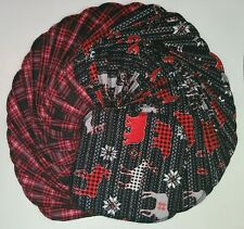 "Cloth Wipes 30 Baby Flannel 8""x8"" Boy Girl Moose Bear Red Black Plaid Tissue"
