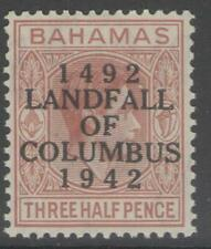 BAHAMAS SG164 1942 1½d RED-BROWN MTD MINT
