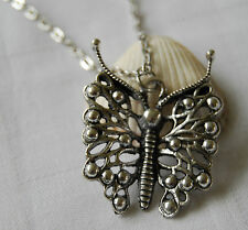 Tibetan silver necklace lovely butterfly pendant retro vintage style