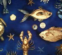 Ocean Creatures Fish Turtle Seahorse Shells Coral Novelty Quilt Fabric FQ FQs